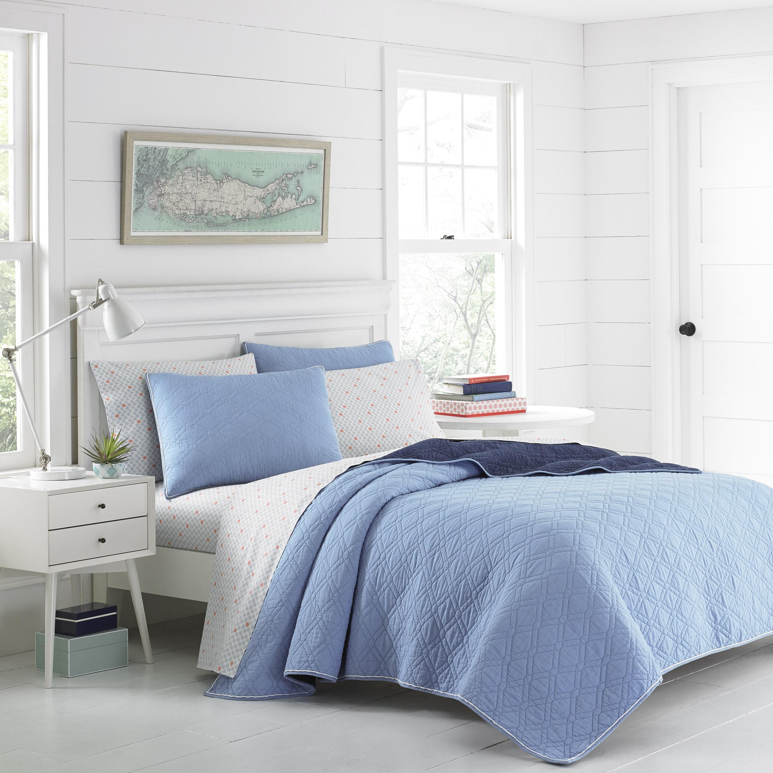 Poppy & Fritz Beckett Blue Cotton Reversible Quilt Set (F...
