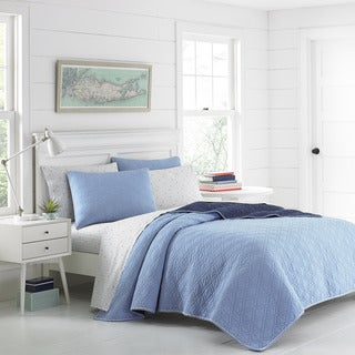 Poppy & Fritz Beckett Blue Cotton Reversible Quilt Set