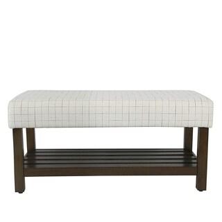 HomePop Decorative Bench with Storage - Cream Windowpane