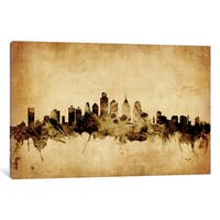 iCanvas 'Foxed (Retro) Skyline Series: Philadelphia, Pennsylvania, USA' by Michael Tompsett Canvas Print