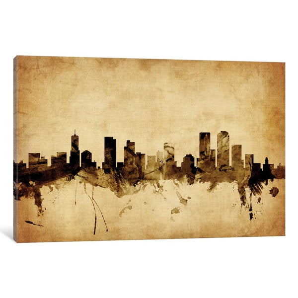 iCanvas 'Foxed (Retro) Skyline Series: Denver, Colorado, USA' by Michael Tompsett Canvas Print