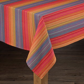 Phoenix Striped Dobby Textured Cotton Imported Tablecloth