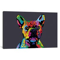 iCanvas 'Rainbow French Bulldog On Grey' by Michael Tompsett Canvas Print