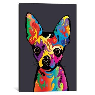 iCanvas 'Rainbow Chihuahua On Grey' by Michael Tompsett Canvas Print