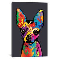 iCanvas 'Rainbow Chihuahua On Grey' by Michael Tompsett Canvas Print
