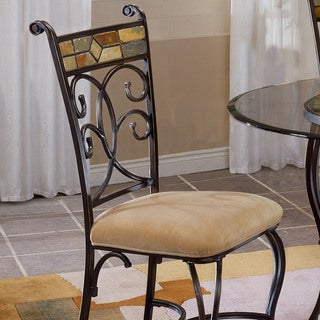 Hillsdale Furniture Pompeii Dining Chairs Set of 2 in Black Gold/Slate Mosaic Finish
