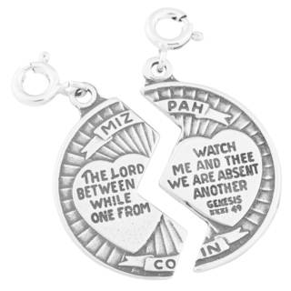 Sterling Silver Mizpah with Verse Charm