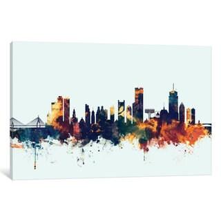 iCanvas 'Skyline Series: Boston, Massachusetts, USA II On Blue' by Michael Tompsett Canvas Print