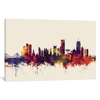 iCanvas 'Skyline Series: Boston, Massachusetts, USA II On Beige' by Michael Tompsett Canvas Print