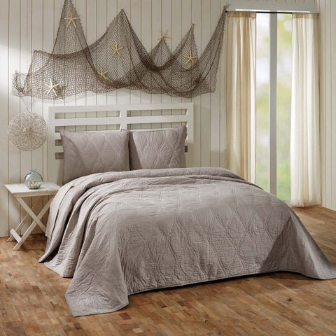 Harbour Ash Grey and Cream Cotton Quilt (Shams Not Included)