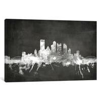 iCanvas 'Blackboard Skyline Series: Pittsburgh, Pennsylvania, USA' by Michael Tompsett Canvas Print