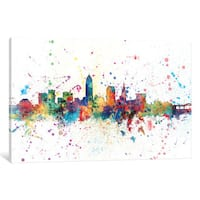 iCanvas Rainbow Splash Skyline Series: Cleveland, Ohio, USA by Michael Tompsett Canvas Print