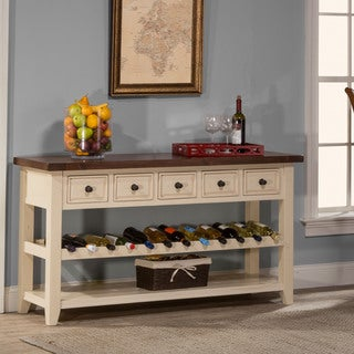 Hillsdale Furniture Tuscan Retreat Wine Rack Hall Table with 5 Drawers in Country White Finish with Antique Pine Top