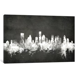 iCanvas 'Blackboard Skyline Series: Houston, Texas, USA' by Michael Tompsett Canvas Print
