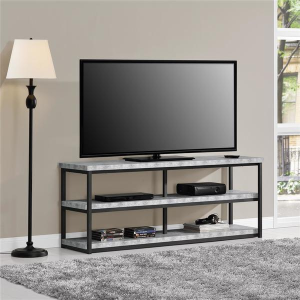 shop ameriwood home ashlar 65 inch concrete grey tv stand free shipping today. Black Bedroom Furniture Sets. Home Design Ideas