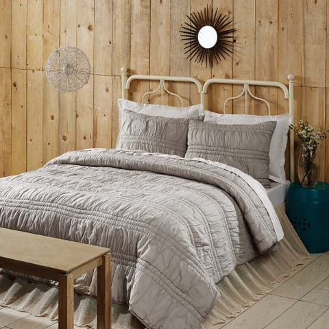Farmhouse Bedding VHC Natasha Quilt Set Cotton Solid Color Ruched Ruffle Voile (Quilt, Sham)