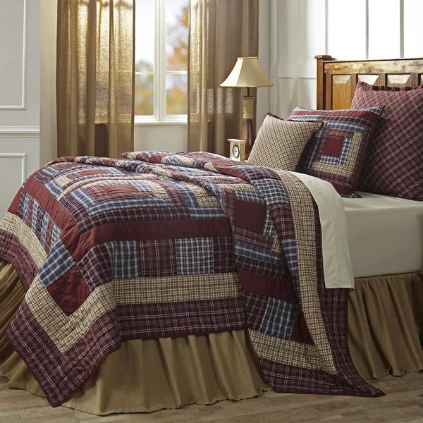 Finley Blue, Tan, and Burgundy Cotton Quilt