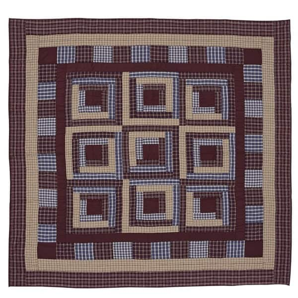 Shop Finley Blue Tan And Burgundy Cotton Quilt Free Shipping