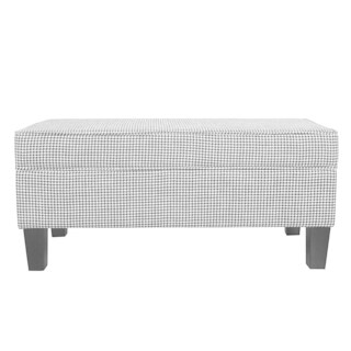HomePop Large Storage Bench with Piping - Ebony Houndstooth