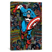 iCanvas 'Marvel Comic Book Captain America Covers Collage' by Marvel Comics Canvas Print