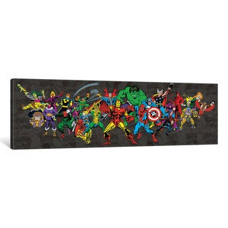iCanvas 'Marvel Comics (Retro) - Character Line-Up with B&W Logo Background Panoramic' by Marvel Comics Canvas Print