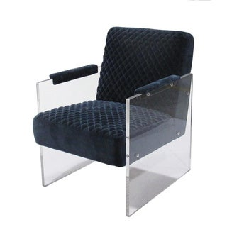 """Link to Pasargad Home Tribecca Collection Navy Acrylic & Velvet Accent Chair - W24""""XD26""""XH24"""" Similar Items in Living Room Chairs"""