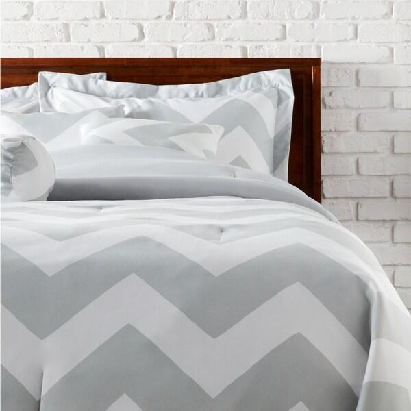 7-piece Beige Chevron Comforter Set
