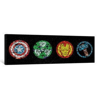 iCanvas 'Avenger Badges - Cap, Hulk, Iron Man, Thor Art' by Marvel Comics Canvas Print