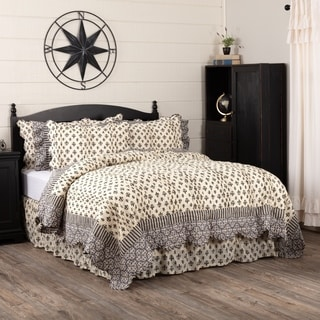 Black Farmhouse Bedding VHC Elysee Quilt Cotton Fleur-De-Lis Patchwork