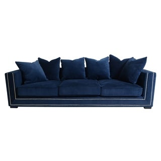 Pasargad Cooper Collection Navy Velvet Sofa