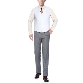 Verno Men's White Five Button Classic Fit Vest