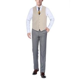 Verno Men's Tan Five Button Classic Fit Vest