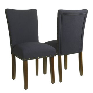 HomePop Classic Deep Navy Parsons Chair with Nailhead Trim (Set of 2)