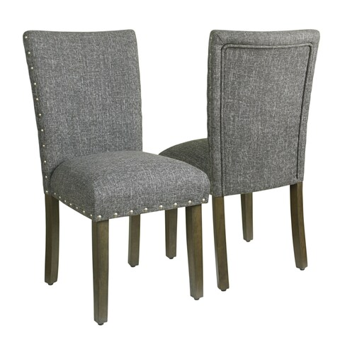 HomePop Classic Parsons Chair with Nailhead Trim - Slate Grey (set of 2)