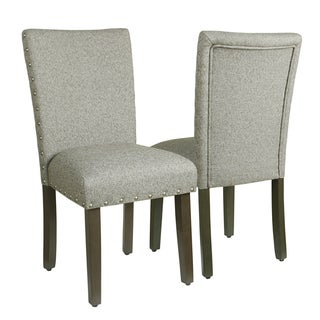 HomePop Classic Parsons Chair with Nailhead Trim - Sterling Grey (Set of 2)