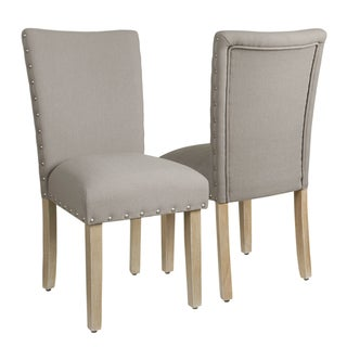 HomePop Classic Parsons Chair with Nailhead Trim - Tan (Set of 2)