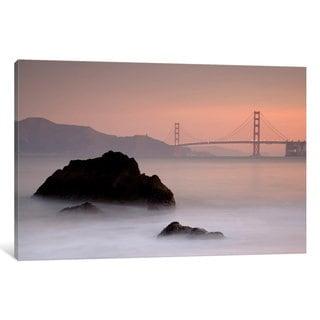 iCanvas 'Rocks And Golden Gate Bridge' by Moises Levy Canvas Print