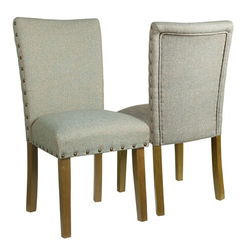 HomePop Classic Parsons Chair with Nailhead Trim - Vapor Teal (Set of 2)