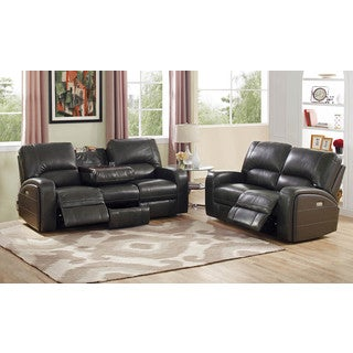 Hydeline by Amax Newcastle Top Grain Leather Power Reclining Sofa and Loveseat Set