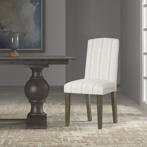 HomePop Classic Parsons Dining Chair - Dove Grey Stripe (Set of 2)