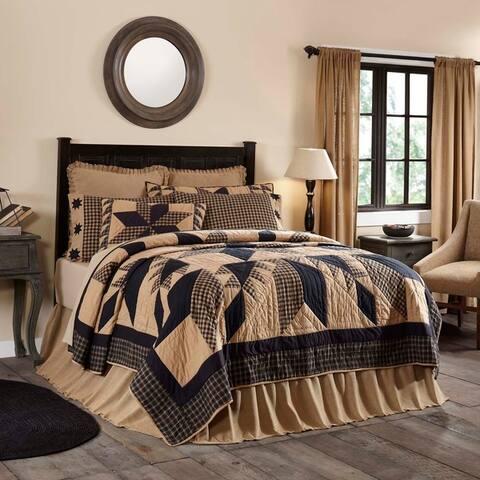 Black Primitive Bedding Lansing Black Quilt Cotton Star Patchwork