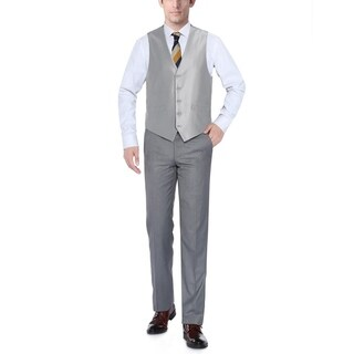Verno Men's Silver Shark-skin Five Button Classic Fit Vest