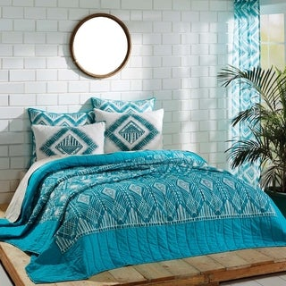 Karina Teal and Marshmallow Cotton Quilt (Shams Not Included)