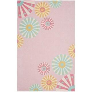 Martha Stewart by Safavieh Candy Shop Carnation / Pink / Blue Wool Area Rug (4' x 6')