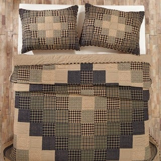 Coal Creek Tan and Black Cotton Quilt (Shams Not Included)