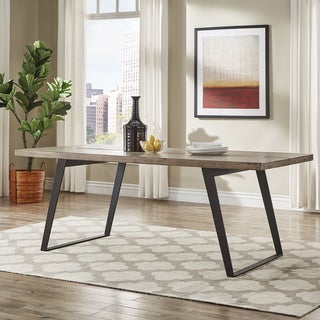 Division Split Top Mixed Media Industrial Wood Dining Table iNSPIRE Q Modern