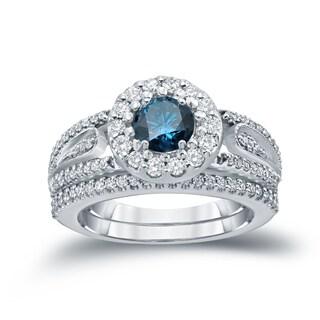 Auriya 14k 1 3/5ct TDW Round Blue Diamond Cluster Bridal Ring Set ( H-I I1-I2)