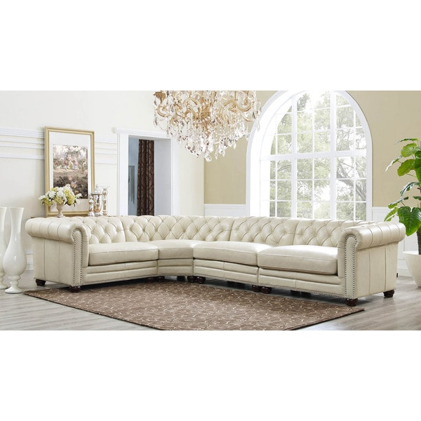 Bon Hydeline By Amax Nicholson Top Grain Leather Button Tufted Nailhead Trim  Sectional Sofa, 4 Pieces