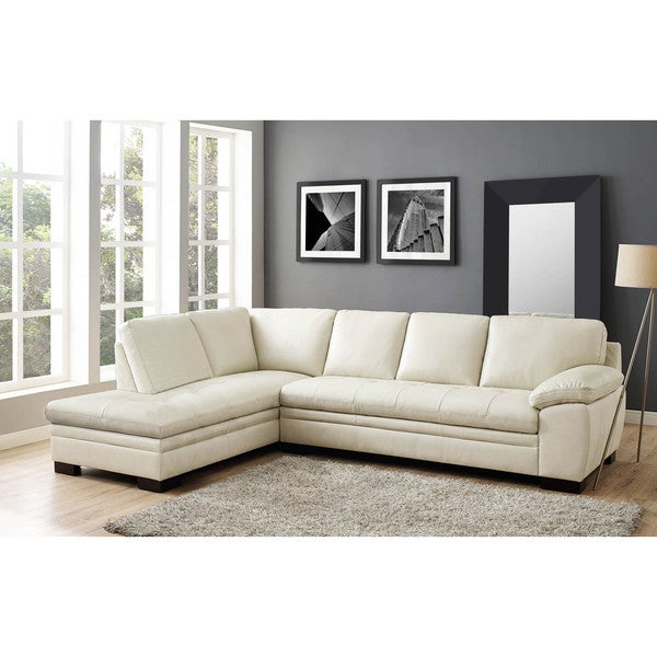 shop hydeline bradford leather sectional sofa with left facing rh overstock com