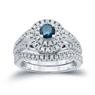 Auriya 14k 1 1/5ct TDW Round Blue Diamond Cluster Bridal Ring Set ( H-I I1-I2)